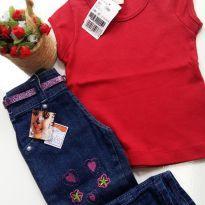 Calça Jeans e blusinha para menina - 1 ano - Não informada