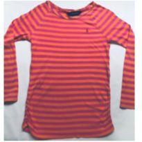 Blusa listrada rosa/laranja - 6 anos - Ralph Lauren