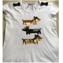 Blusa cachorrinho bordada com paetê - 8 anos - Miss Trm