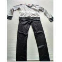 conjunto de moletom e calca preta sintetica - 10 anos - amora