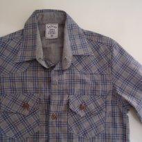 Camisa Manga Longa Xadrez Azul/ Cinza - 2 anos - Sylvaz