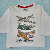Camiseta manga longa branca aviões - 1 ano - Fakini