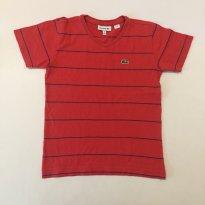 Camiseta - marca Lacoste - Vermelha - listrada - tam 6 - 6 anos - Lacoste