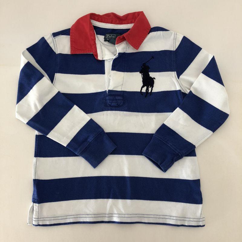 3edb00b002364 Camiseta Manga Longa - Marca Polo Ralph Lauren - Listrada Branca e Azul -  Tam 4