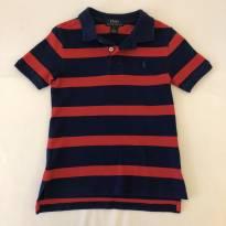 Camiseta Polo - marca Polo Ralph Lauren - listrada azul e vermelha - Tam 5 - 5 anos - Ralph Lauren