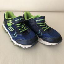 Tenis - Marca Skechers - Cor Azul e Amarelo - Tam 31 (EUA 1Y)