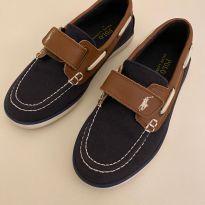 Mocassim Polo Ralph Lauren - Azul Marinho/Marrom - Tamanho 30 - Usado 1 Vez - 30 - Ralph Lauren
