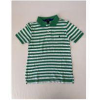 Camiseta polo - marca Polo Ralph Lauren - listrada verde e branca - tam 6 - 6 anos - Ralph Lauren