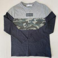 Camiseta manga longa - Zara - cor cinza chumbo - Tam 8 - 7 anos - Zara