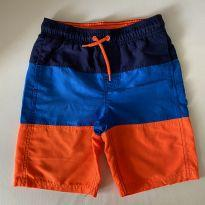 Shorts de Nylon - marca Cat and Jack - Azul/Branco/Laranja  - Tam 8 - 7 anos - Cat and Jack