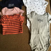 Kit 5 Bodys Curtos Carters - Captain Adorable - 12M - 1 ano - Carter`s