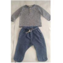Calça azul de moletinho e camiseta Zara Baby boy - 3 a 6 meses - Zara