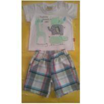 Camiseta e bermudinha xadrez - 9 a 12 meses - Jaca lele