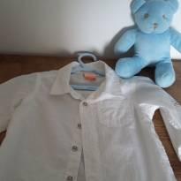 Camisa branca menino com botão - 1 ano - Marisol