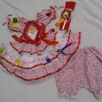 Vestido caipira / vestido junino - 0 a 3 meses - Não informada