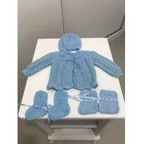 Kit roupinha de lã artesanal - 0 a 3 meses - Artesanal
