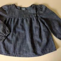 Blusa jeans manga longa BABY GAP - 18 meses - Baby Gap