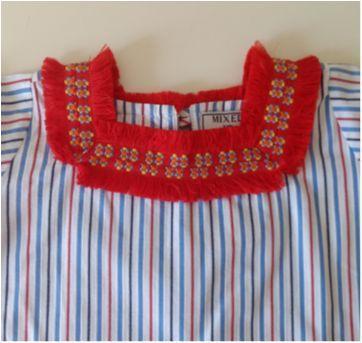 Blusa listrada gola quadrada MIXED KIDS - 2 anos - MIxed Kids