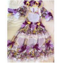 Lindo Vestido Festa Junina - Roxo - 6 anos - Não informada