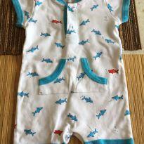 Macaquinho branco tubarão azul - 3 a 6 meses - Teddy Boom