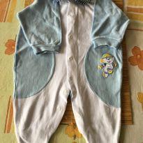 Macacão azul e branco com boneco costurado - 3 a 6 meses - Marca não registrada