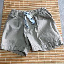 Bermuda marrom claro com elástico e cadarço - 6 meses - Carter`s