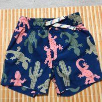 Bermuda azul com desenhos de cactos e lagartos coloridos - 9 meses - Carter`s