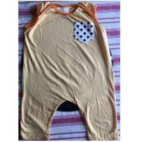 Macacão amarelo com bolso de bolinhas pretas - 4 anos - Momuá