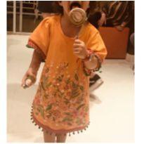 Vestido moletinho bordado a mão - 3 anos - Artesanal
