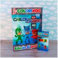 10 Kits Revistinha de Colorir Pj Mask Com Giz de cera Personalizado -  - Não informada