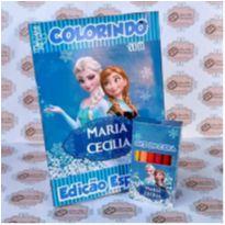 10 Kits Revistinha de Colorir Frozen Com Giz de cera Personalizado -  - Não informada