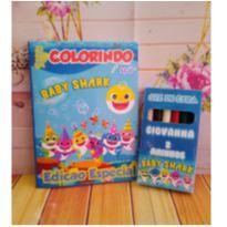10 Kits Revistinha de Colorir Baby Shark Com Giz de cera Personalizado -  - Não informada