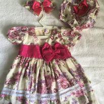 Vestido florido de festa para recém nascido com calcinha e faixa de cabelo - Recém Nascido - Sem marca