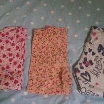 trio de calças de algodão estampadas 2 - 2 anos - Não informada