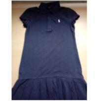 Vestido Polo Half Lauren manga curta azul marinho