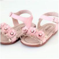 Sandalia rosa com flores - 19 - Orto baby