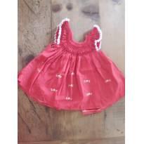 Vestido Vermelho - 0 a 3 meses - Artesanal
