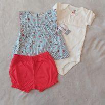 Conjunto Carter`s shorts, camiseta e body - 12 a 18 meses - Carter`s