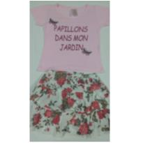 Blusinha rosa e saia floral - tamanho 6 - corre lá na lojinha tem promoção - 6 anos - Não informada