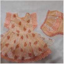 Vestido bebe plissado - com brinde - 3 a 6 meses - Não informada