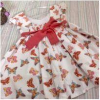 Vestido borboletas com laço - 6 a 9 meses - Não informada