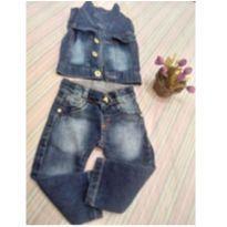 Conjunto jeans - 6 a 9 meses - Não informada