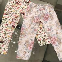 Kit 2 calças legging malha tamanho 1 ano - 1 ano - Não informada