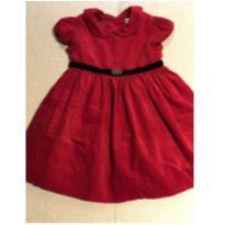 Vestido de veludo cotelê vermelho com tapa fraldas Rauph Lauren 9 meses - 18 meses - Ralph Lauren