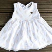 Vestido carinhoso branco e dourado 6-9M Ref 068 - 6 a 9 meses - Carinhoso