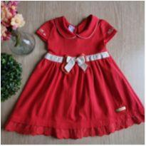 Vestido vermelho com laço - 6 a 9 meses - Quebra Cabeça