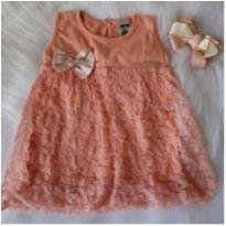 Vestidinho renda rosê - 3 a 6 meses - Molekada