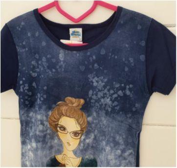 Camiseta menina blue Tam. 14 - NOVA - 13 anos - Bicho bagunça
