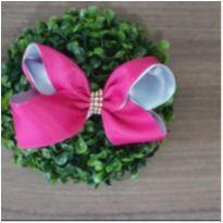 Laço pink/cinza -  - Feito à mão