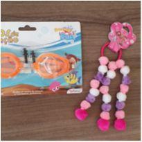 Kit infantil óculos de natação + lacinho pompom -  - Diversas